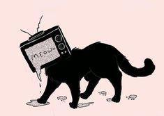 Ah ahhahahaa look a cat with a TV head ! Pretty Art, Cute Art, Dessin Old School, Arte Dope, Object Heads, Tv Head, Arte Indie, Art Tumblr, Vent Art
