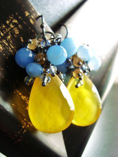 SUNNY DAY EARRINGS Bright Yellow and Sky Blue Chalcedony