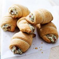 Bacon Appetizer Crescents:  1package (8 oz.) PHILADELPHIA Cream Cheese, softened  8slices OSCAR MAYER Bacon, cooked, crumbled  1/3cup KRAFT Grated Parmesan Cheese  1/4cup finely chopped onions  2tablespoons chopped fresh parsley  1tablespoon milk  2cans (8 oz. each) refrigerated crescent dinner rolls