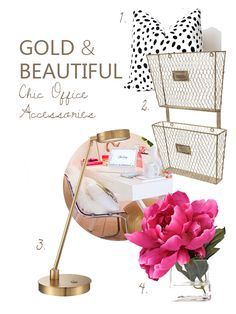 Totally Chic Home Office Accents Inspiration. Repin now view later! Gold, Pink, White Home Office. Office Accessories Ideas, feminine office ideas, home office pretty!