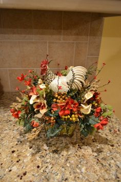 Spotted Rooster Arrangement by kristenscreations on Etsy 12x12