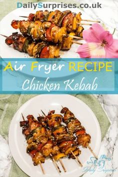 Kabobs - Air Fryer Recipes - Tender, juicy and colorful chicken kabobs. Can be made in under 30 minutes. -Chicken Kabobs - Air Fryer Recipes - Tender, juicy and colorful chicken kabobs. Can be made in under 30 minutes. Air Fryer Dinner Recipes, Air Fryer Oven Recipes, Air Fried Food, Air Fryer Healthy, Chicken Kabobs, Cooking Recipes, Healthy Recipes, Easy Recipes, Snacks Recipes