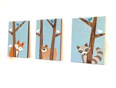 Woodland Nursery Art Fox Decor Forest Friends by SweetBananasArt