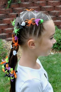 Awesome hairdo for the girls on Halloween!
