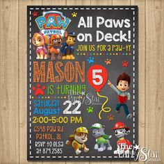 Paw Patrol Birthday Invitation Paw Patrol by ThePartyStarStudio