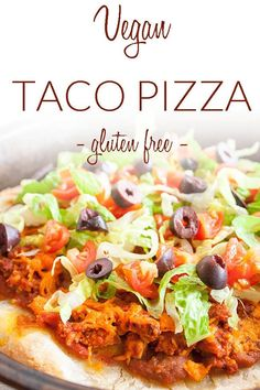 Vegan Taco Pizza (gluten free) - This homemade taco pizza is an easy healthy recipe. Made with spicy tofu and taco ingredients. Vegan Taco Pizza (gluten free) - This homemade taco pizza is an easy healthy recipe. Made with spicy tofu and taco ingredients. Vegan Mexican Recipes, Easy Healthy Recipes, Whole Food Recipes, Vegetarian Recipes, Pizza Recipes, Lunch Recipes, Dinner Recipes, Taco Pizza, Pizza Hut