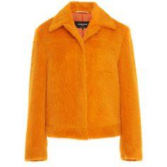 Alpaca Jacket   Moda Operandi (33,175 EGP) ❤ liked on Polyvore featuring outerwear, jackets, oversized jacket, alpaca jacket, alpaca wool jacket, orange jacket and long sleeve jacket