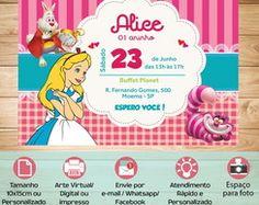 Convite Personalizado Virtual/Digital Alice no Pais das Maravilhas.