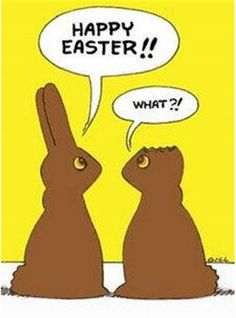 Happy Easter 2 - Easter pictures Easter humor Easter jokes and Easter cartoons Funny Easter Jokes, Easter Cartoons, Funny Bunnies, Funny Easter Bunny, Easter Peeps, Chocolate Humor, Chocolate Lovers, Chocolate Easter Bunny, Chocolate Rabbit