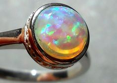 Fire opal and silver