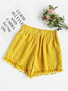 CWLSP Tassel Elastic Waist Summer High Waist shorts for women Cotton Patchwork Korean style Casual Soft Short feminino Casual Summer Dresses, Summer Outfits, Cute Outfits, Dress Summer, Dress Casual, Pom Pom Shorts, Korean Fashion Trends, Fashion Styles, Sweater And Shorts
