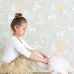 Majvillan Unicorns Wallpaper in Grey. Playful kids wallpaper with a nordic influence. Non-Woven Wallpaper (paste the wall) Washable & Eco-Friendly Roll Size: x Repeat: Straight Match 1 roll left in stock at Sale Price