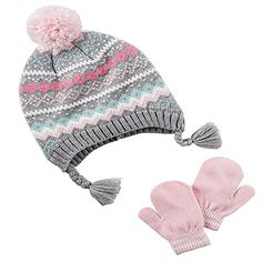 5a01c72294a Amazon.com  Carter s Girls Fair Isle Pom Pom Winter Hat and Glove Set  (Pink Grey