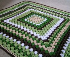 Baby Granny Square Blanket Crochet in Greens, Browns and White Ready to Ship : . Baby Granny Square Blanket Crochet in Greens, Browns and White Ready to Ship : Baby Granny Square Baby Granny Square Blanket, Quick Crochet Blanket, Easy Granny Square, Granny Square Crochet Pattern, Crochet Blanket Patterns, Crochet Granny, Crochet Stitches, Granny Squares, Double Crochet