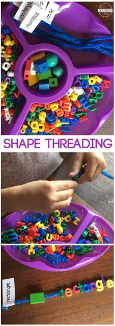 Learning about Shapes is fun with this tactile, hands on learning activity where children will thread the shapes!! Perfect for preschool, prek, kindergarten, and first grade kids.