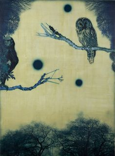 artemisdreaming:    Dark Night and Three Moons, 2011, Acrylic and collage on canvas  Kaoru Mansour