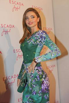 "Miranda Kerr dressed in Escada floral print blouse and pencil skirt at Escada ""Joyful"" Roadshow at Escada Flagshipstore in Munich"