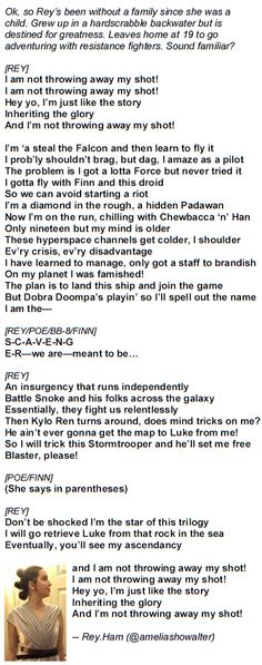 Star Wars/Hamilton. Rey is not throwing away her shot!!