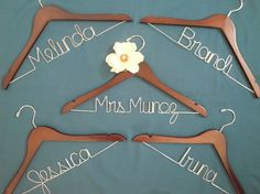 Personalized hangers for bride and bridesmaids