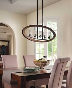 Grand Bank 5 Light Linear Chandelier In Auburn Stain AUB