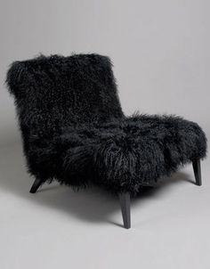 fauteuil poil de chèvre noir