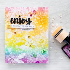 Simon Says Stamp | Distress Ink Rainbow Background & The Rainbow Card Challenge