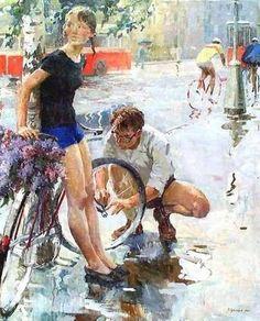 Виктор Цветков. «Велосипедная прогулка». 1965 г.