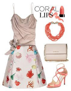 """""""Coral lips and skirt"""" by pumsiks ❤ liked on Polyvore featuring Givenchy, Anna Sui, Yumi, tarte, John Galliano, Jimmy Choo, Kenneth Jay Lane, women's clothing, women and female"""