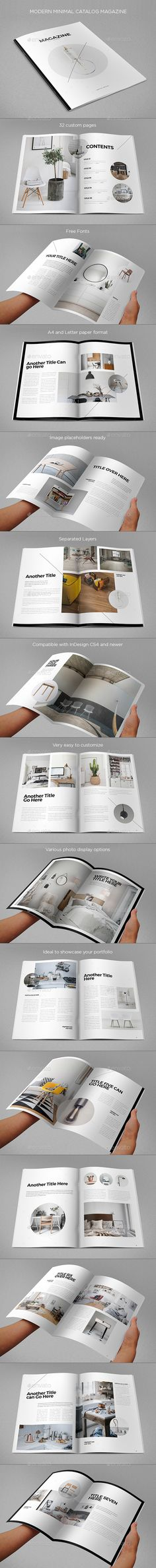 Simple Minimal Catalog Magazine Design Template - Magazines Print Templates InDesign INDD. Download here: https://graphicriver.net/item/simple-minimal-catalog-magazine/17707489?ref=yinkira