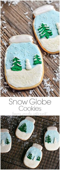 An easy tutorial on how to to make your own waterless snow globes from mason jars and matching snow globe cookies that make awesome Christmas cookies! GorillaTough | GorillaofCourse | AD
