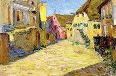 Wassily Kandinsky Kallmünz-Vilsgasse I (Rosa Landschaft) dated Art Kandinsky, Wassily Kandinsky Paintings, Abstract Landscape, Landscape Paintings, Abstract Art, Art Moderne, Art Abstrait, Russian Art, Impressionism