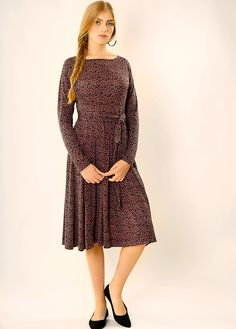 Purple modest midi dress with belt. The dress is very comfortable. Great for formal or casual occasions. Details: - Made of soft knit fabric. - Main color - purple - Long sleeves - 8 Pleats, 4 in-front and 4 at the back. - Belt, made of the mat