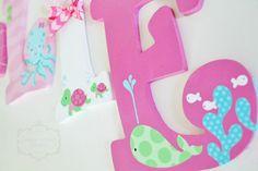 Lima rosa y Aqua Mar submarino temática Letras de por KraftinMommy