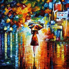 "RAIN PRINCESS — PALETTE KNIFE Oil Painting On Canvas By Leonid Afremov - Size 24""x24"""