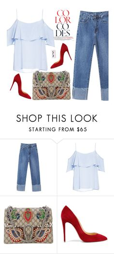 """""""Oversized jeans"""" by missiny ❤ liked on Polyvore featuring BB Dakota, Gucci, Christian Louboutin and Boohoo"""