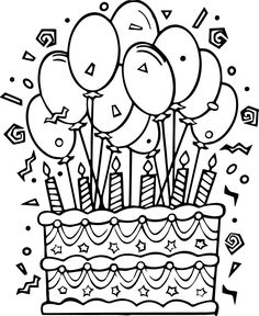Fun Birthday Cake Coloring Pages See the category to find more printable coloring sheets. Also, you could use the search box to find what you want. Coloring Birthday Cards, Happy Birthday Coloring Pages, Coloring Pages For Boys, Flower Coloring Pages, Mandala Coloring Pages, Coloring Pages To Print, Free Printable Coloring Pages, Coloring Book Pages, Happy Birthday Printable