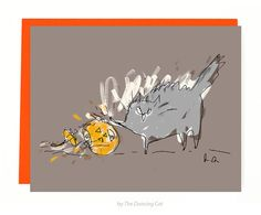 Funny Halloween Card - Cat - Bad Cat - There was only room for 1 Pumpkin in this house