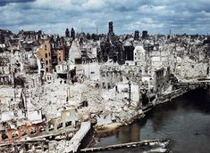 A color photograph of the bombed-out historic city of Nuremberg, Germany in June of 1945, after the end of World War II.