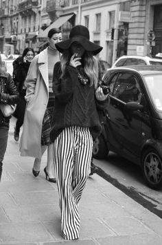Modern 70s retro, striped silk pant, chunky knit sweater, floppy wool hat
