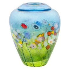 "Robert Held Art Glass - Vase, Meadow Ginger Pot Copper Blue/ Lt Green - 4.2 X 5.5"" $131.25 #monet #garden #flowers"