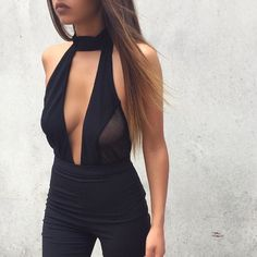 Cheap skinny overalls, Buy Quality romper women directly from China overall jumpsuit Suppliers: Women bodysuit sexy backless halter romper women hollow patchwork skinny overalls jumpsuit feminino combinaison femme overalls Halter Neck, Backless Bodysuit, Mesh Bodysuit, Black Bodysuit, Choker Bodysuit, Look Formal, Summer Outfits, Fashion Clothes, Edgy Outfits