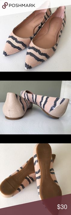 Enzo Angiolini Reptile Flats Adorable pointed toe flats in a pretty pink color with cream and black stripe detail. Glossy reptile like finish for a touch of flair! Worn once, excellent condition! Enzo Angiolini Shoes Flats & Loafers