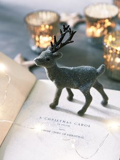 NEW Four Hanging Flocked Deer - It is never too early for Christmas! - Decorative Home - Indoor Living