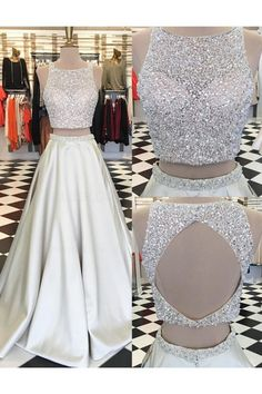Beaded Sequins Two Pieces Keyhole Back Prom Dresses Party Evening Gowns 3020329