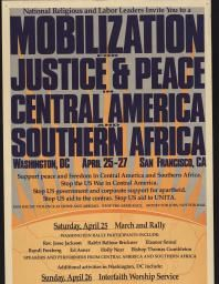 Political Posters, Labadie Collection, University of Michigan: Mobilization for Justice & Peace in Central America and Southern Africa