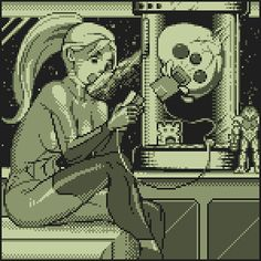 It's Samus playing on her gameboy! She looks so adorbs. =3
