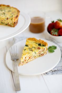 Deep Dish Bacon Spinach Quiche abeautifulmess.com