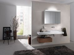 Bathroom Mirror Cabinet, Mirror Cabinets, Contemporary Bathrooms, Modern Bathroom, Double Vanity, Inspiration, Furniture, Planning, Home Decor
