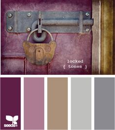 *** Design Seeds - Locked Tones. Possible color palette for master bedroom. Grey furniture, taupe walls, plum accent wall & mauve accent paint behind headboard?