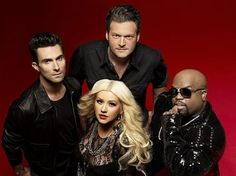 The Voice crew. ( Adam Levine, Christina Aguilera, Cee Lo Green, and Blake Shelton.)   Their all really funny together